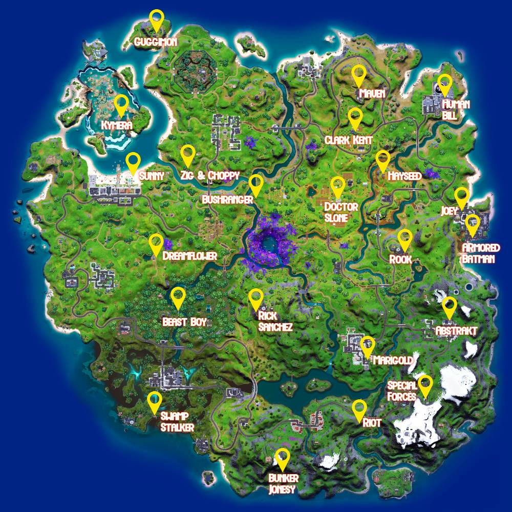 NPC locations in Fortnite up to C2S7W10.