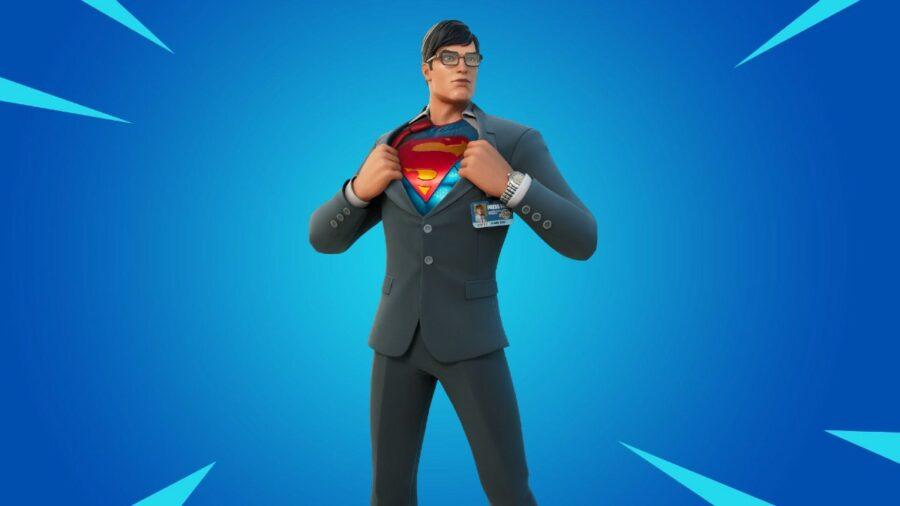 Fortnite background, Superman foreground.