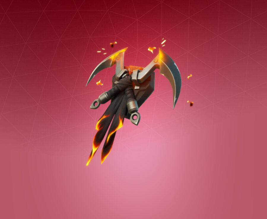 Flaming Dual Kama Back Bling