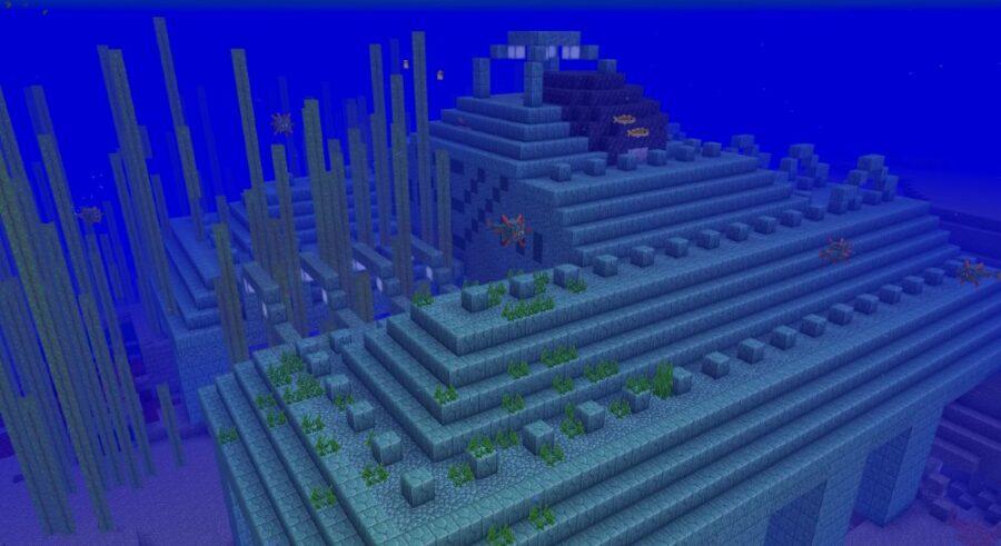 An Amethyst Geode on an Ocean Monument in Minecraft.