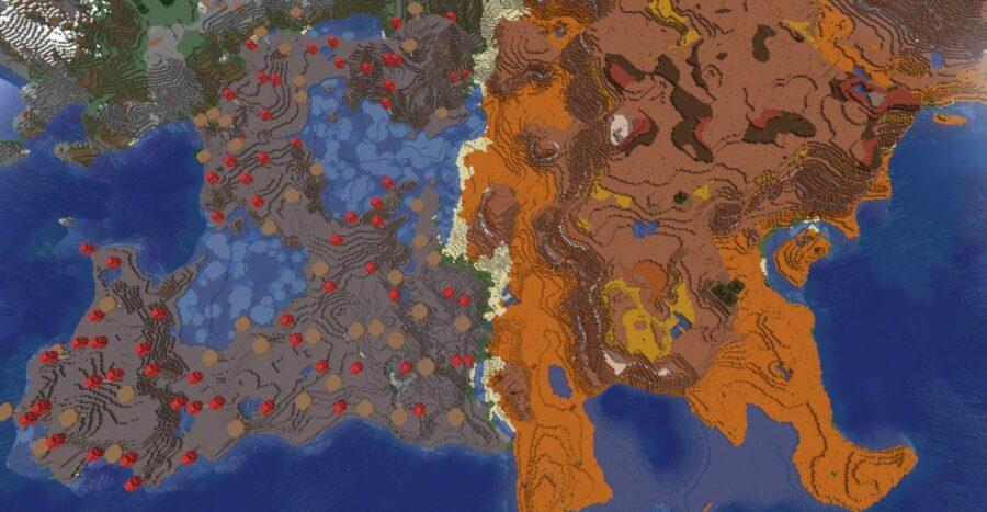 Mushroom Mesa Biome in Minecraft.
