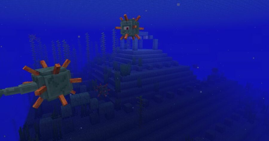 An Ocean Monument with Guardians in Minecraft.