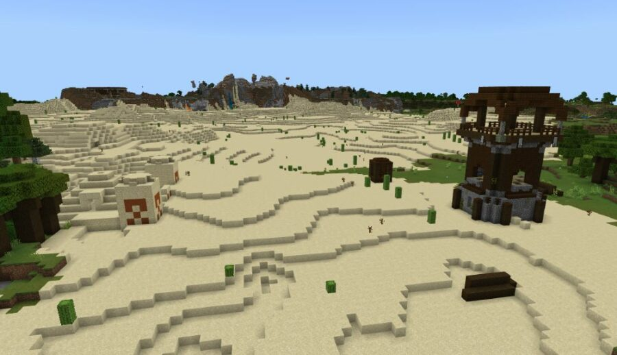 A Pillager Outpost by a Desert Temple in Minecraft.