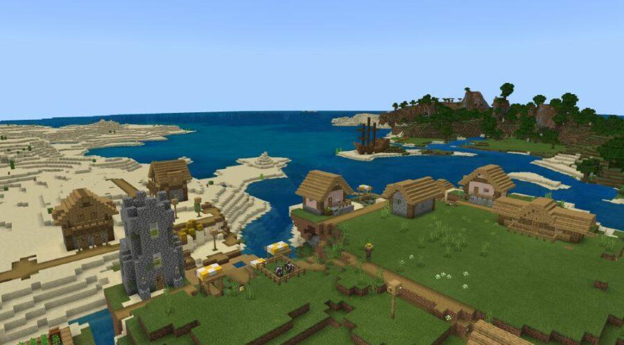 A Village near a Shipwreck in Minecraft.