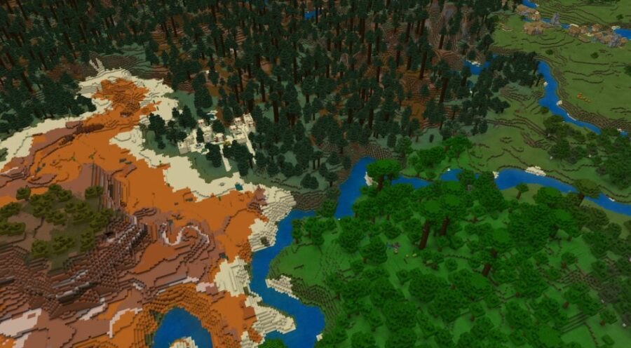 Many Rare Biomes touching in Minecraft