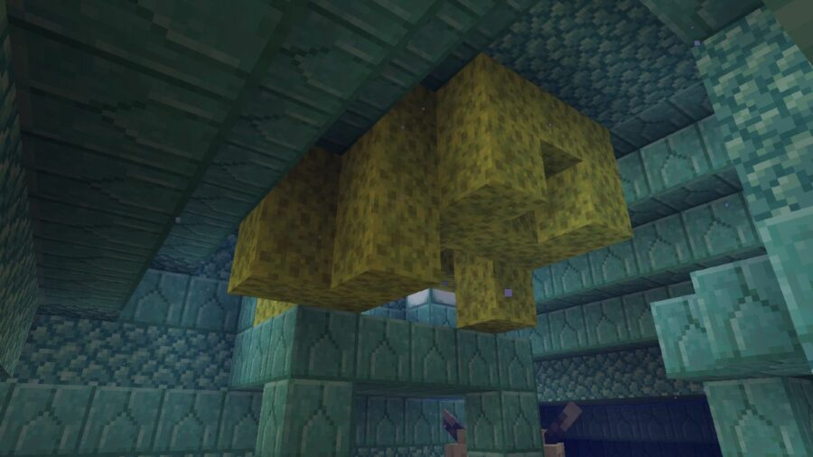 A Cluster of sponges in Minecraft.