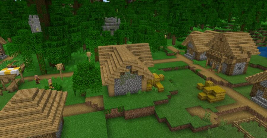 A Village by a Jungle Temple in minecraft.