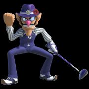 Waluigi in Mario Golf Super Rush.