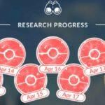 Field Research progress in Pokemon Go.
