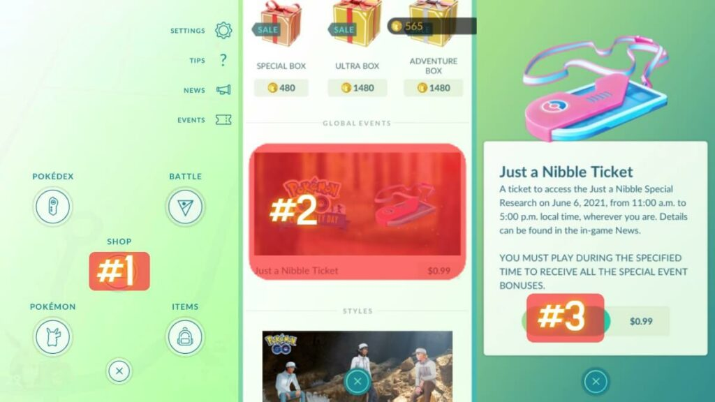 How to get the Just a Nibble Ticket in Pokemon Go.