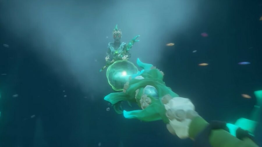 Using a Trident of Dark Tides in Sea of Thieves.