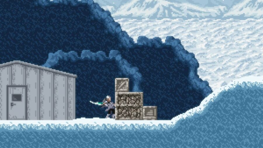Swinging at a crate in Axiom Verge 2