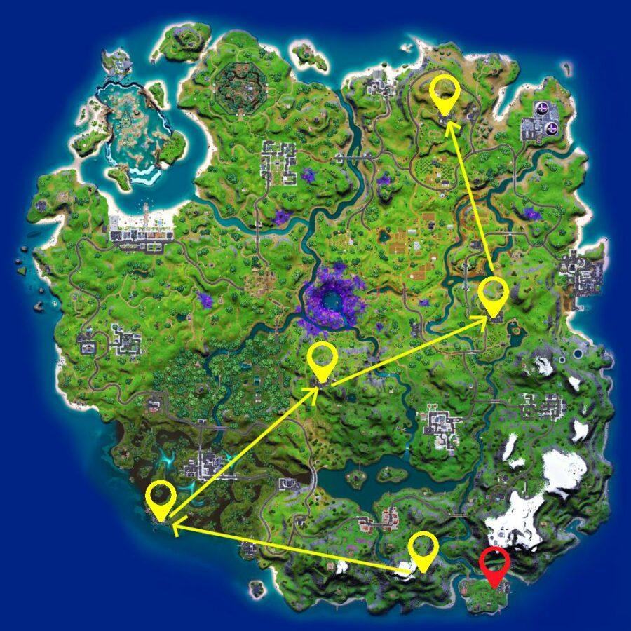 Path to visit 5 Radar Dish locations