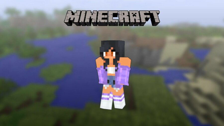 Aphmaus skin on display in Minecraft.