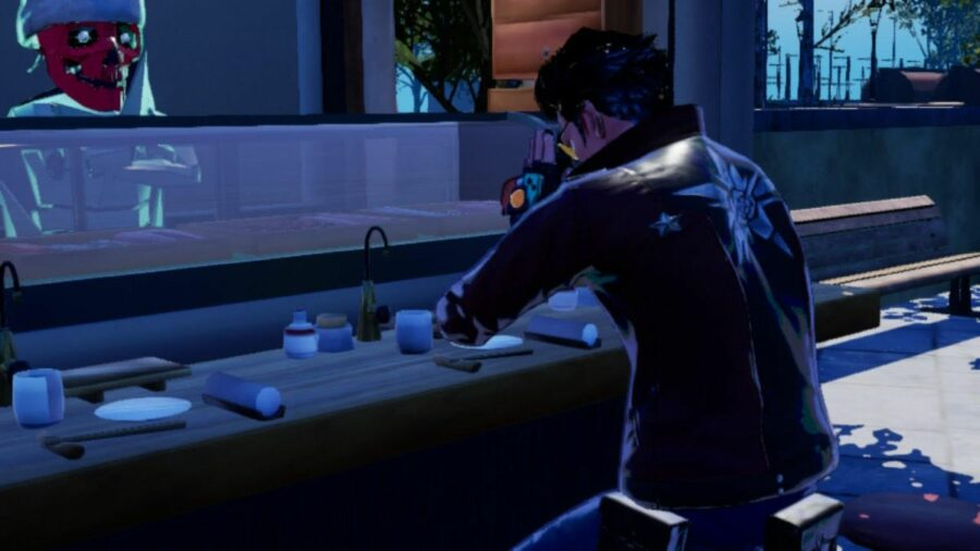 Eating Sushi at DM in No More Heroes 3