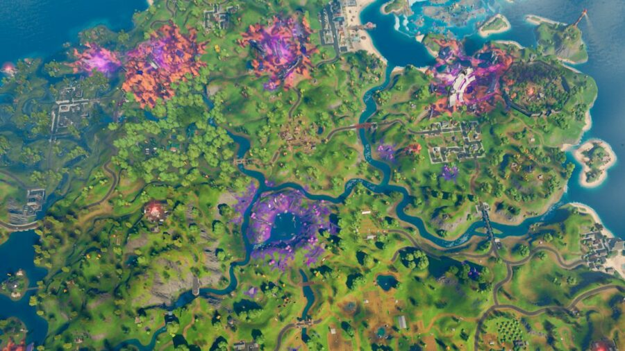 An overhead view of the island in Fortnite.