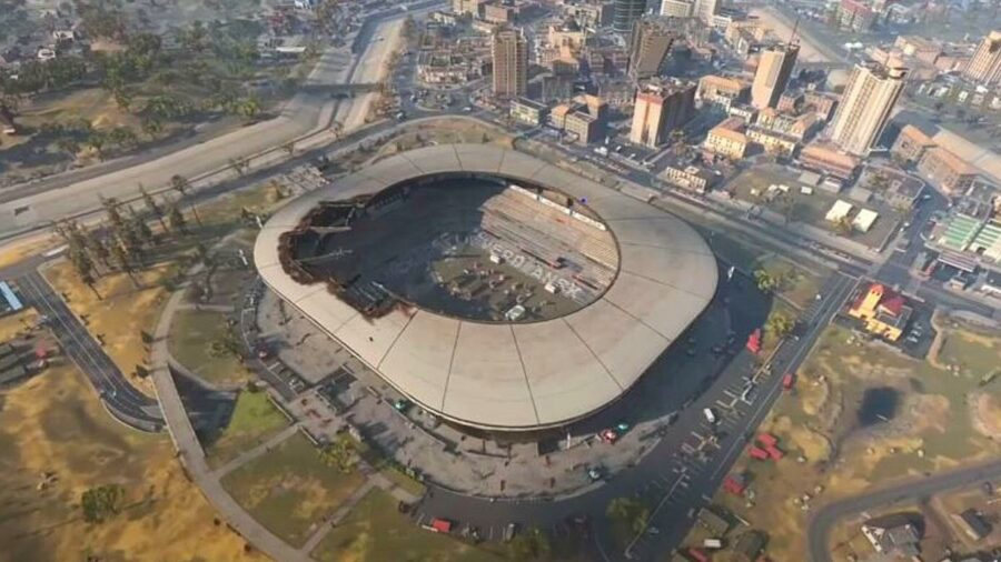 An overhead view of the stadium in Call of Duty Warzone