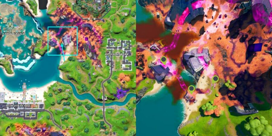 The locations of Desert Sand bottles in the wreckage west of Pleasant Park.