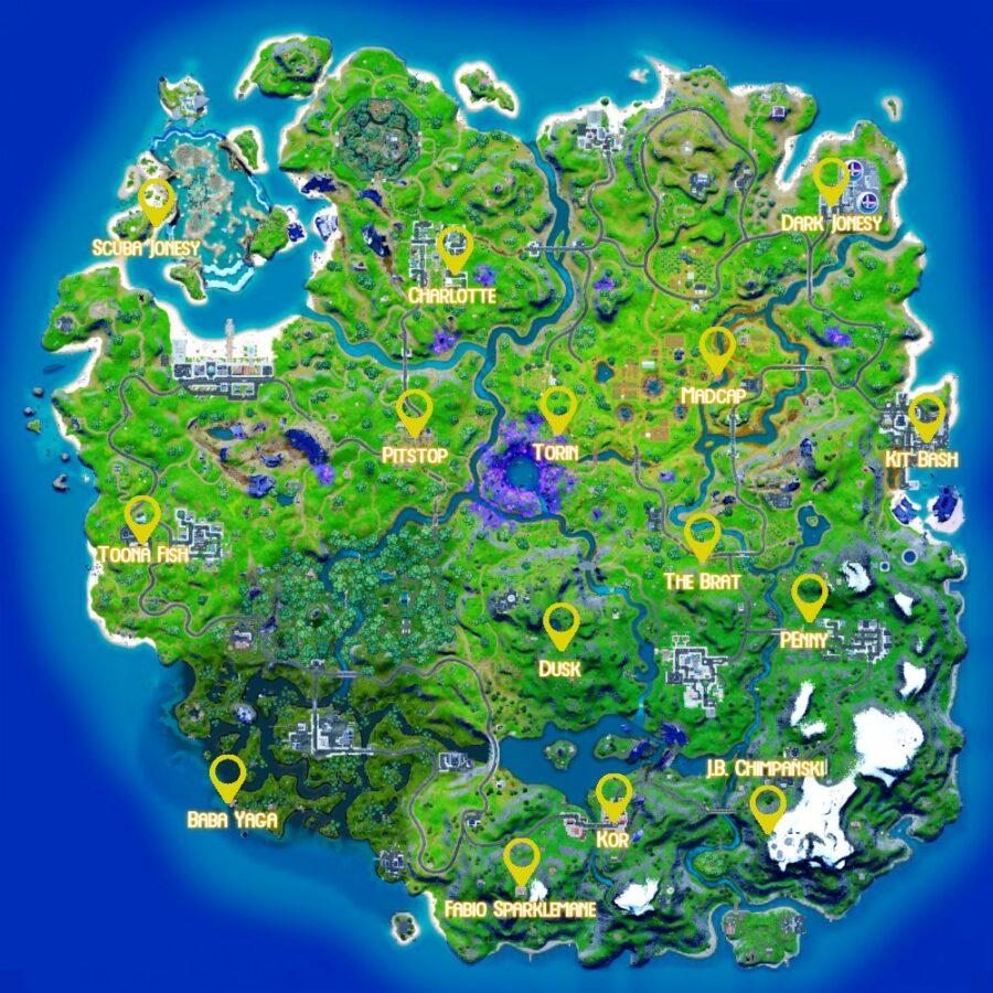 Map of NPC locations in Fortnite Chapter 2 Season 8