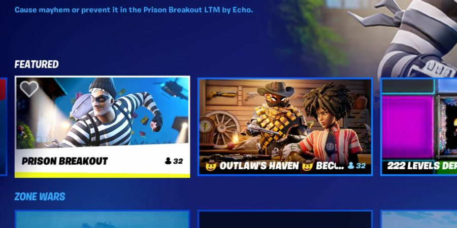 Selecting Prison Breakout game mode.
