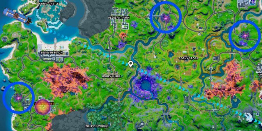Sideways Encounters locations in Fortnite
