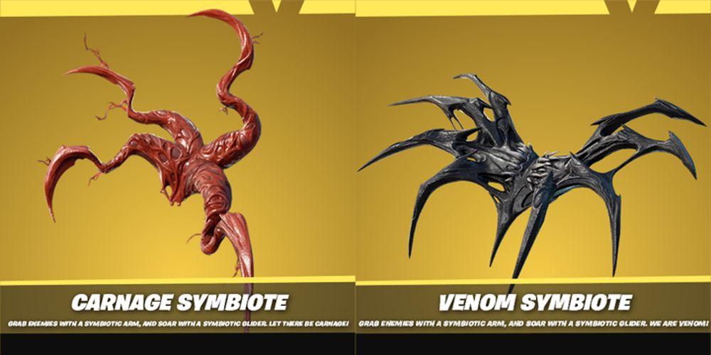 The symbiotes in Fortnite