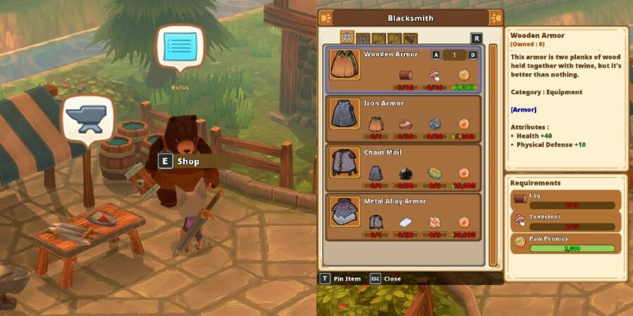Buying armor in Kitaria FAbles